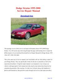Download 1995-2000 Dodge Stratus Service Repair Manual - Carfsm