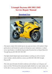 2002-2005 Triumph Daytona 600 Workshop Manual - Repair manual