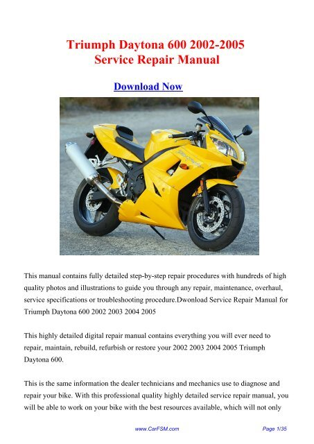 2002 2005 Triumph Daytona 600 Workshop Manual Repair Manual