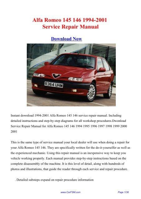 alfa romeo 145 146 workshop manual