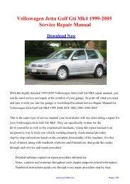 Volkswagen Jetta Golf Gti Mk4 1999-2005 Workshop Manual - Carfsm