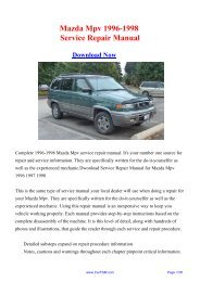 Download Mazda Mpv 1996-1998 Workshop Manual - Repair manual