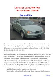 Download 2000-2006 Chevrolet Epica Workshop ... - Repair manual