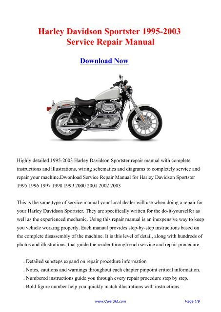 Harley Davidson Sportster 1995-2003 Repair Manual on
