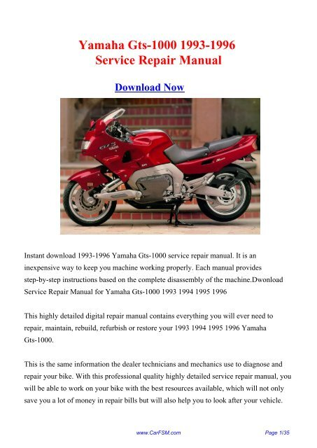 Download Yamaha Gts-1000 1993-1996 Service Repair