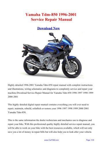 yamaha tdm850 full service repair manual 1991 1999