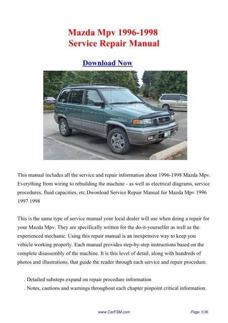Download Mazda Mpv 1996 1998 Factory Repair Manual Carfsm