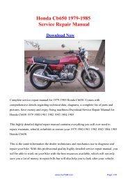 1979-1985 Honda Cb650 Service Repair Manual