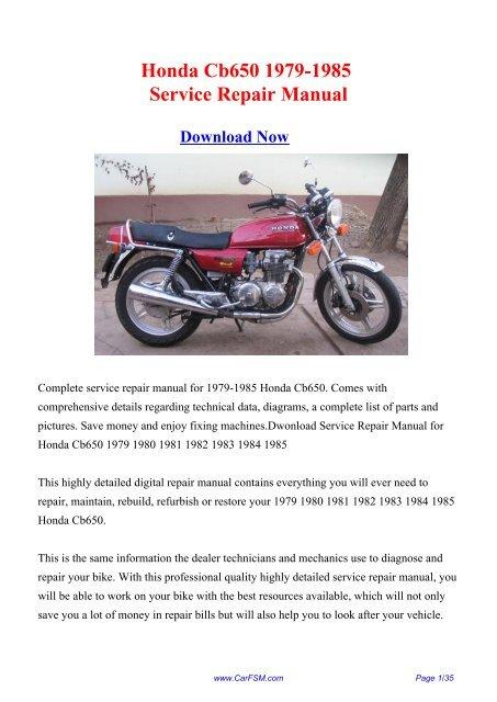 1979 1985 Honda Cb650 Service Repair Manual