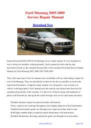 Download Ford Mustang 2005-2009 Workshop ... - Repair manual