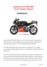 Download 1999-2005 Aprilia Rs-125 Workshop ... - Repair manual
