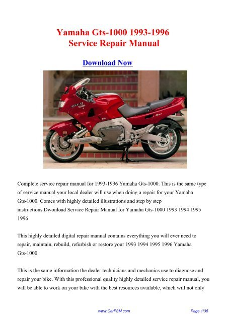 Download Yamaha Gts 1000 1993 1996 Service Repair Manual