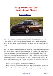 Download Dodge Stratus 2001-2006 Service Repair Manual - Carfsm