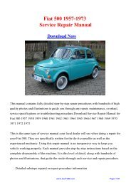 Download Fiat 500 1957-1973 Workshop Manual - Repair manual