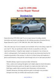 1999-2006 Audi Tt Factory Repair Manual - Carfsm