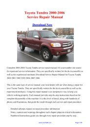 Toyota Tundra 2000-2006 Service Repair Manual