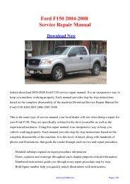 Ford F150 2004-2008 Service Repair Manual