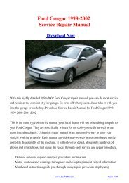Ford Cougar 1998-2002 Service Repair Manual