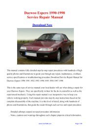 Download 1990-1998 Daewoo Espero Factory Repair ... - Carfsm