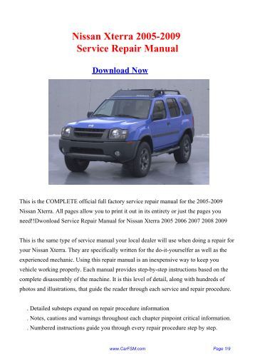2001 Nissan Xterra Owners Manual