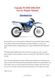 Download Yamaha Wr450f 2006-2010 Workshop ... - Repair manual