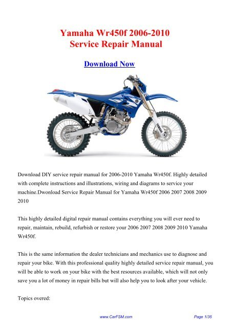 Download Yamaha Wr450f 2006 2010 Workshop Repair Manual