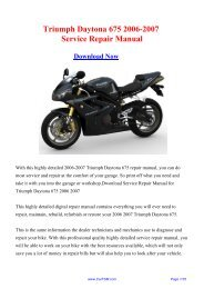 Triumph Daytona 675 2006-2007 Factory Repair Manual - Carfsm