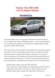 Download Pontiac Vibe 2003-2008 Workshop ... - Repair manual