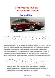 Ford Freestyle 2005-2007 Factory Repair Manual