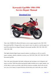 Download Kawasaki Gpz900r 1984-1990 Factory Repair ... - Carfsm