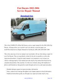 2002-2006 Fiat Ducato Factory Repair Manual