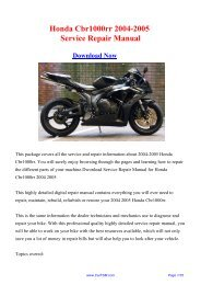 Download 2004-2005 Honda Cbr1000rr Workshop ... - Repair manual