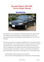Hyundai Elantra 1996-2001 Repair Manual