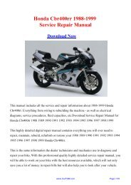 1988-1999 Honda Cbr400rr Factory Repair Manual