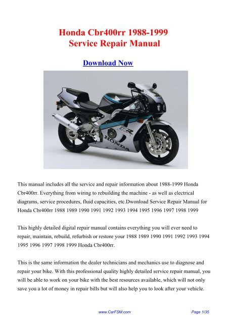 1988 1999 Honda Cbr400rr Factory Repair Manual