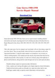 Gmc Sierra 1988-1998 Workshop Manual - Repair manual
