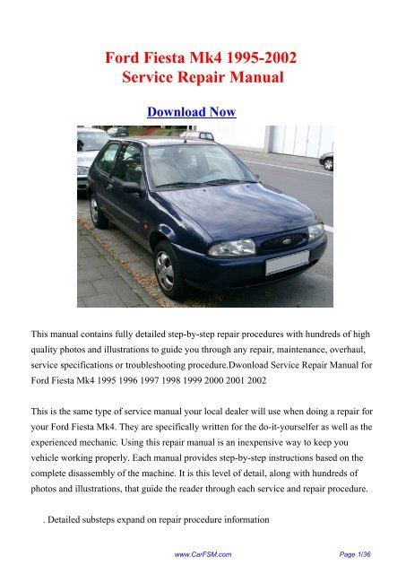 Ford Fiesta Mk4 1995 2002 Workshop Manual Repair Manual