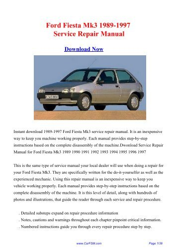 Download Ford Fiesta Mk3 1989-1997 Workshop ... - Repair manual