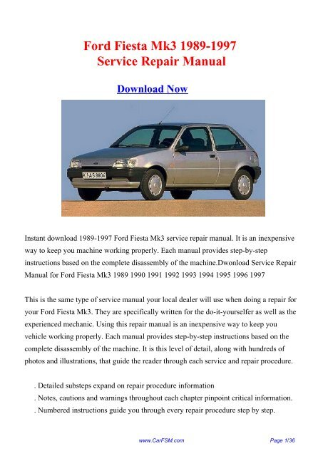 Download Ford Fiesta Mk3 1989 1997 Workshop Repair Manual
