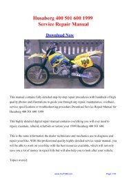 1999 Husaberg 400 501 600 Service Repair Manual - Carfsm