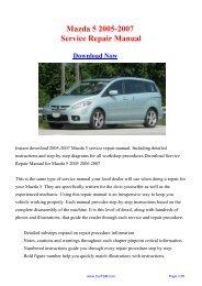 2005-2007 Mazda 5 Service Repair Manual