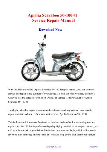 Aprilia Scarabeo 50-100 4t Factory Repair Manual