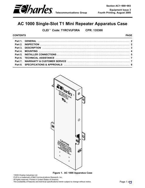 [DIAGRAM_1JK]  AC 1000 Single-Slot T1 Mini Repeater Apparatus Case - Charles ... | T1 Wire Diagram |  | Yumpu