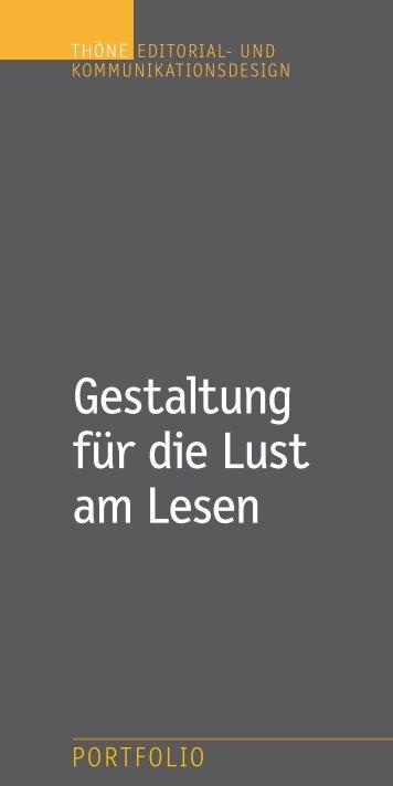 Thöne Editorial- und Kommunikationsdesign PORTFOLIO 07_2014
