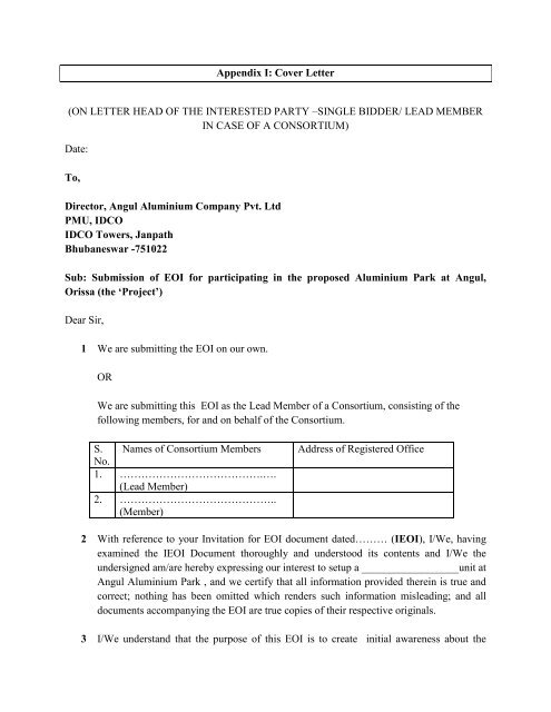 Appendix I: Cover Letter (ON LETTER HEAD OF THE ... - IDCO