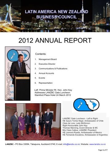 2012 annual report - Latin America New Zealand Business Council