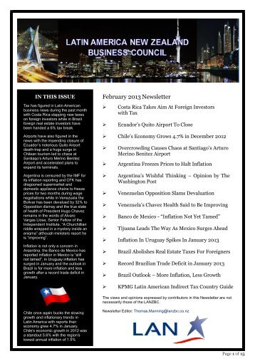 February 2013Newsletter - Latin America New Zealand Business ...