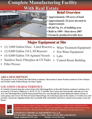 Complete Manufacturing Facility With Real Estate - Louisiana ...