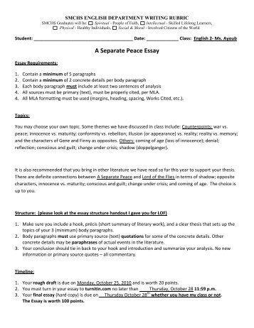 prompts a separate peace a separate peace essay prompt and rubric 2010