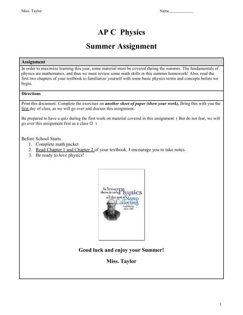 Summer Homework AP Physics C 1314